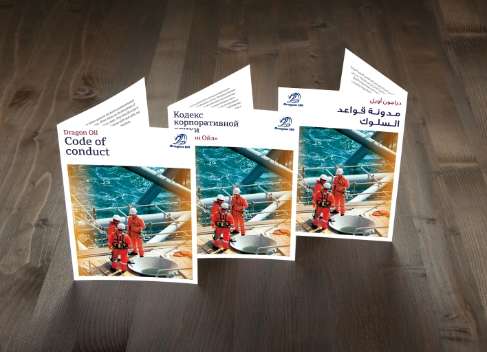 Dragon Oil Code of Conduct booklets in English, Russian and Arabic